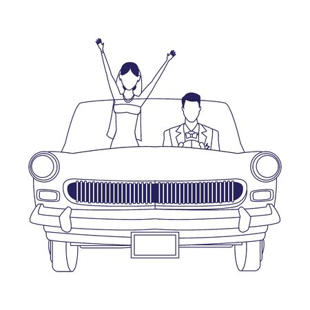 happy married couple in a classic car over white background, vector illustration