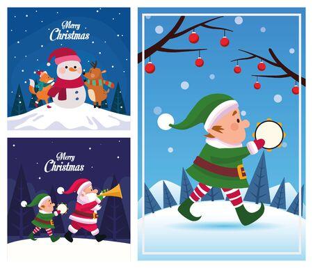 bundle of merry christmas cards vector illustration design Stock Illustratie