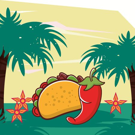 delicious taco mexican food and chili pepper vector illustration design