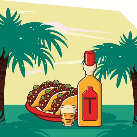 delicious tacos mexican food with tequila bottle vector illustration design 向量圖像