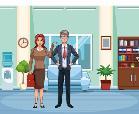 adult businesswoman and businessman at office background, colorful design , vector illustration Imagens - 135454198