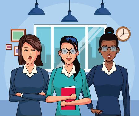 cartoon businesswomen at office scenery background, colorful design , vector illustration