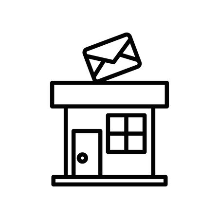 Edificio de la oficina del servicio postal icono diseño ilustración vectorial