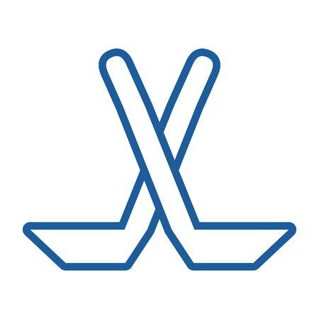 ski winter sport sticks equipment vector illustration design