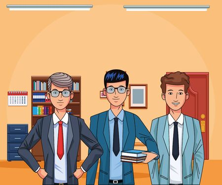 cartoon businessmen at office background, colorful design , vector illustration Imagens - 135484554