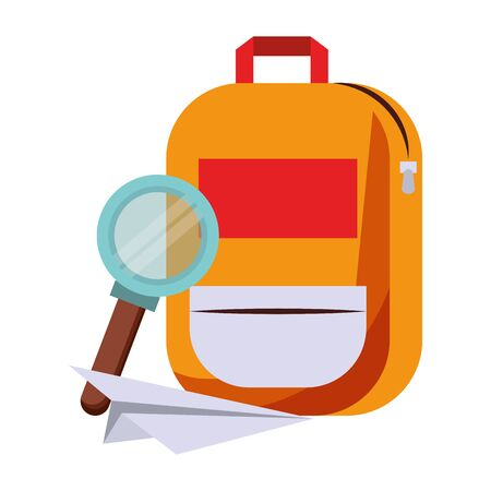 Back to school education backpack and paperplane and magnifying glass cartoons vector illustration graphic design Illustration