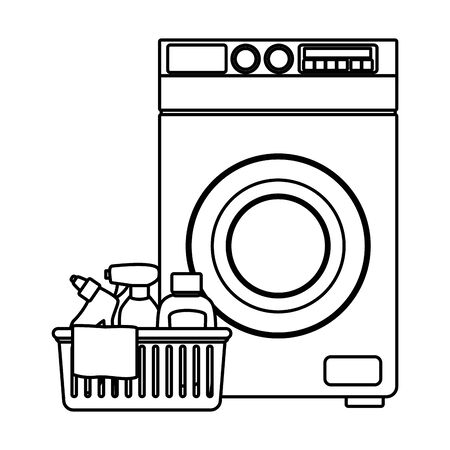 laundry wash and cleaning liquid soap, spray cleaner, cleaning shampoo into a cleanliness basket with a cloth and washing machine icon cartoon in black and white vector illustration graphic design