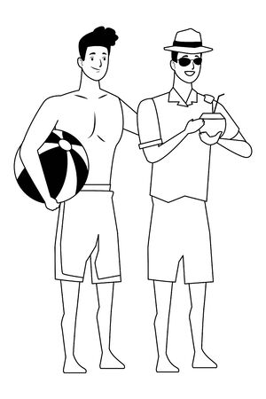 Young men friends enjoying summer with swimsuit drinking coconut cocktail vector illustration graphic design Ilustracja