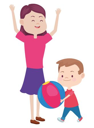 Family single mother playing ball and smiling with son cartoon ,vector illustration graphic design. Archivio Fotografico - 135490378
