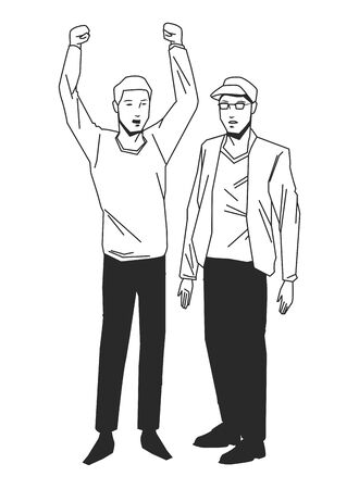 social activity and public protest man with the fist in the air man with hat and glasses in black and white avatar cartoon character