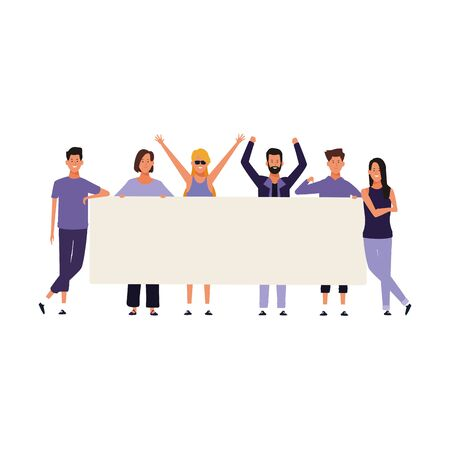 young people protesting with blank placard over white background, vector illustration