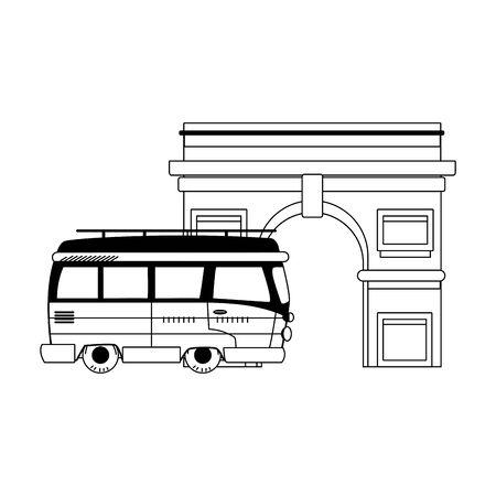 arch of triumph icon over white background, vector illustration Illustration