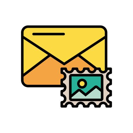 envelope mail with stamp postal service vector illustration design Ilustrace