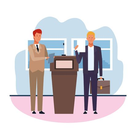 Two businessmen standing next to the conference podium over white background, vector illustration