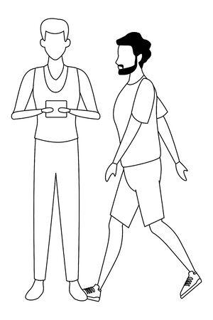 casual people men with technology device cartoon vector illustration graphic design Illusztráció