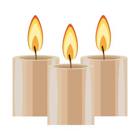 three lit candle icon cartoon isolated vector illustration graphic design Illusztráció