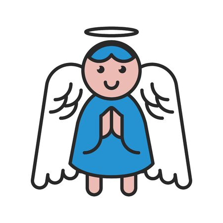merry christmas little angel icon vector illustration design 向量圖像