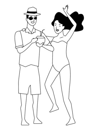 Young couple enjoying summer in swimsuit drinking coconut cocktail and dancing vector illustration graphic design