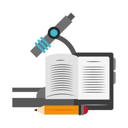 microscope with tablet and pencil over white background, vector illustration Illustration