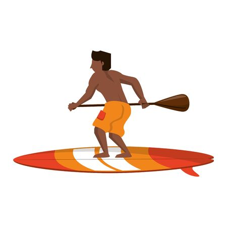 Young man with rowing on surf table isolated cartoon vector illustration graphic design Ilustracja