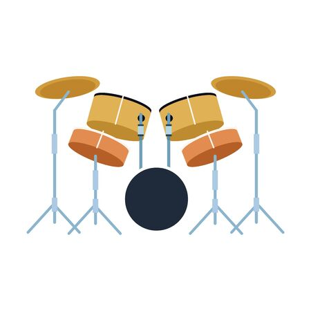 musical drums set icon over white background, colorful design. vector illustration