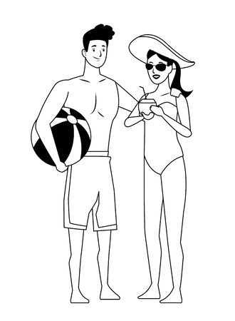 Young couple enjoying summer in swimsuit with beach ball vector illustration graphic design Ilustracja