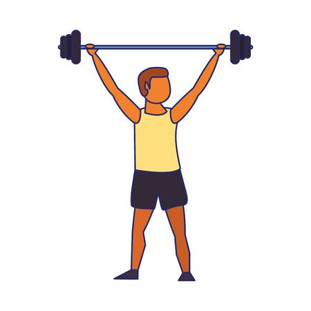 Fitness man lifting weights avatar vector illustration graphic design