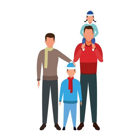 avatar man with teen boy and kids over white background, colorful design. vector illustration Ilustrace