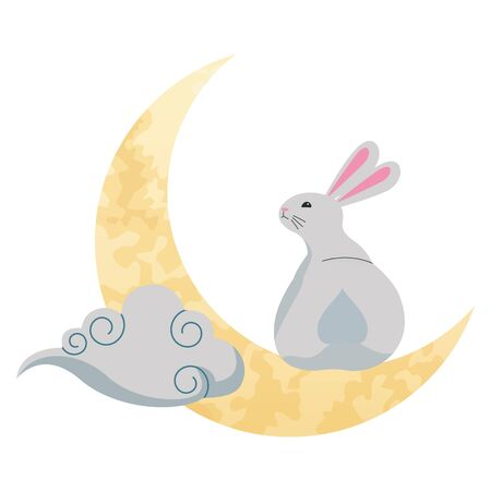 Rabbit playing on moon with cloud cartoon ,vector illustration graphic design.