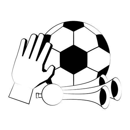 Soccer football sport game ball goalkeeper glove and horns vector illustration graphic design