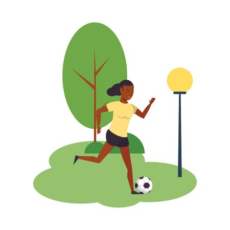 Woman playing with soccer ball at park isolated vector illustration graphic design