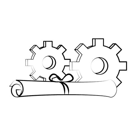 gears support technology industry with factory plans cartoon vector illustration graphic design