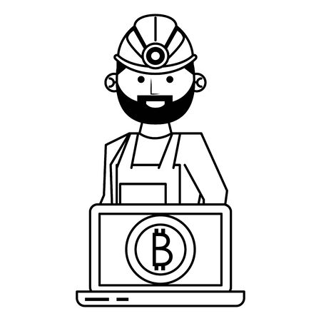 Bitcoin cryptocurrency mining from laptop with worker cartoon vector illustration graphic design Иллюстрация