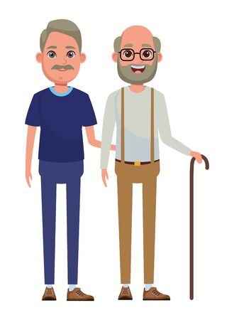 elderly people avatar old man with moustache and old man with beard, glasses and cane profile picture cartoon character portrait vector illustration graphic design