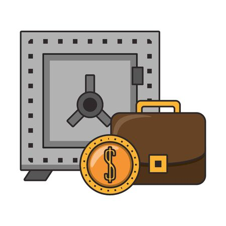 Strongbox with briefcase and coin symbols vector illustration