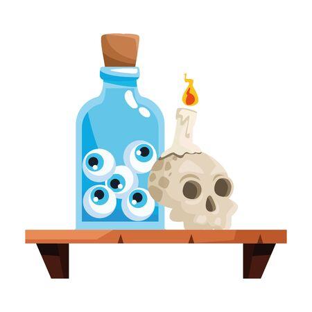 halloween head skull with eyes bottle in shelf vector illustration design