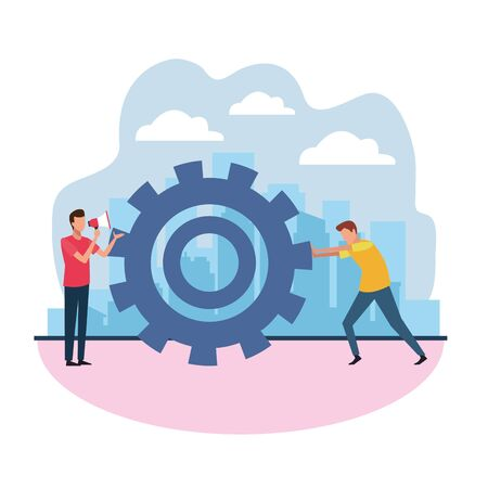 avatar man with megaphone and man pushing a gear wheel over white background, colorful design , vector illustration
