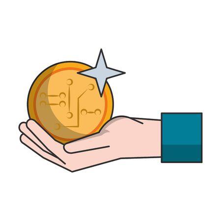 Hand with cryptocurreny symbol vector illustration graphic design Иллюстрация