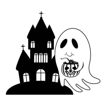 halloween october scary celebration ghost with pumpkin candys pot in front dark house isolated cartoon vector illustration graphic design