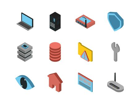 bundle of data server set icons vector illustration design