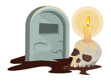 halloween skull head with candle and graveyard vector illustration design