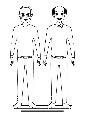 Grandparents friends couple smiling cartoon vector illustration graphic design 向量圖像