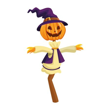scarecrow pumpkin with witch hat vector illustration design