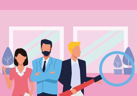 Group of business partners with business and symbols, executive entrepreneur teamwork inside office building scenery ,vector illustration graphic design. Ilustração