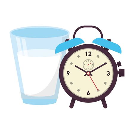fitness equipment workout health and glass of milk with alarm clock symbols vector illustration graphic design