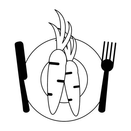 healthy and balanced food carrot dish cartoon vector illustration graphic design