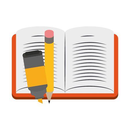 Livre académique avec surligneur et crayon sur fond blanc, design coloré. illustration vectorielle