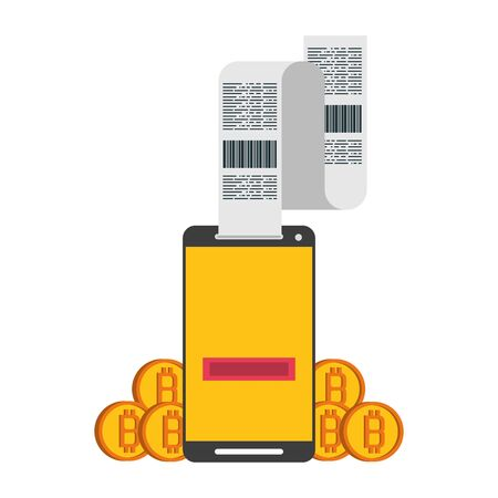 Bitcoin cryptocurrency online payment smartphone and bill with coins symbols vector illustration graphic design