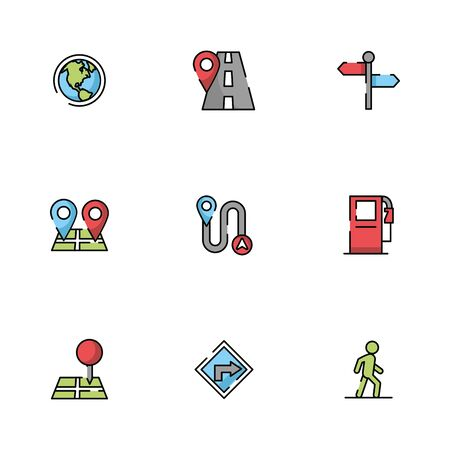 bundle of maps and navigation icons illustration design Ilustrace