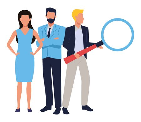 Group of business partners with business and symbols, executive entrepreneur teamwork ,vector illustration graphic design. Ilustração
